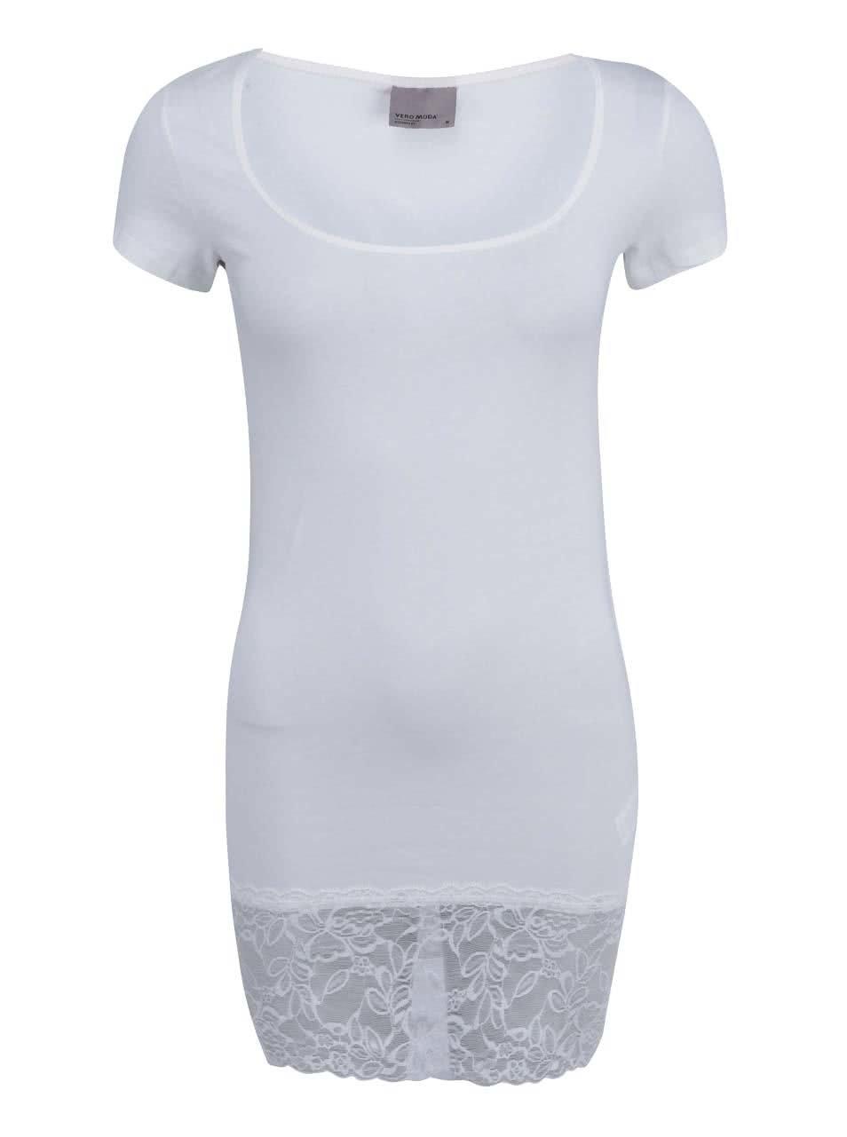 Bílé delší tričko s krajkovaným lemem Vero Moda Maxi My 7eeb0af6bc