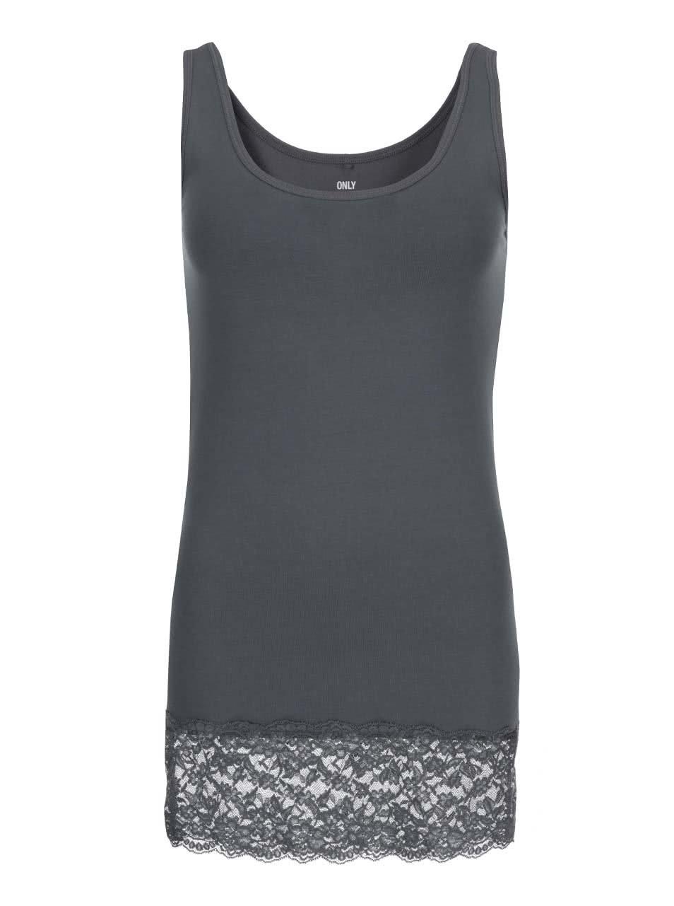 Tmavě šedé tílko s krajkou ONLY Long Lace 1d61a0c0a0