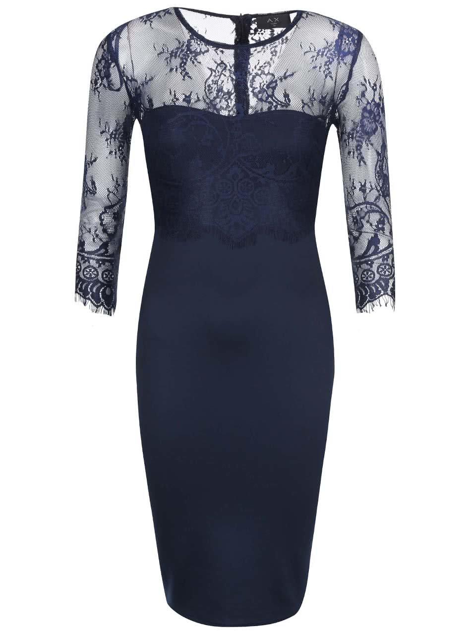 Tmavě modré pouzdrové šaty s krajkou AX Paris 10faae223b