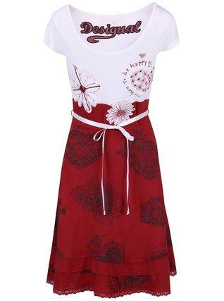 Desigual - Bílo-červené šaty se vzorem Roxanna - 1