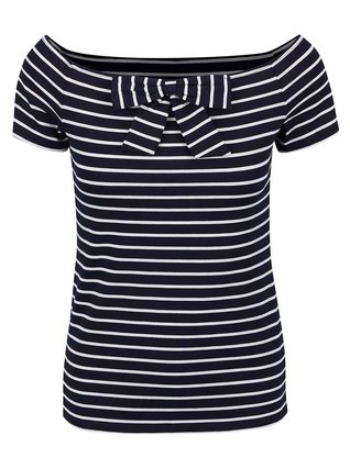 Dorothy Perkins - Tmavě modré pruhované tričko s mašličkou - 1