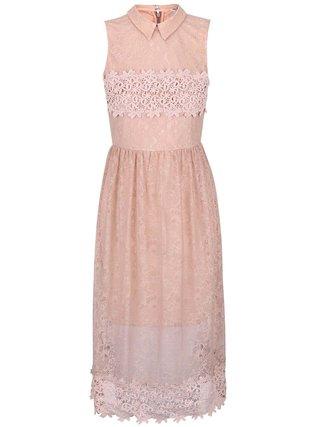 Miss Selfridge - Starorůžové šaty s límečkem - 1