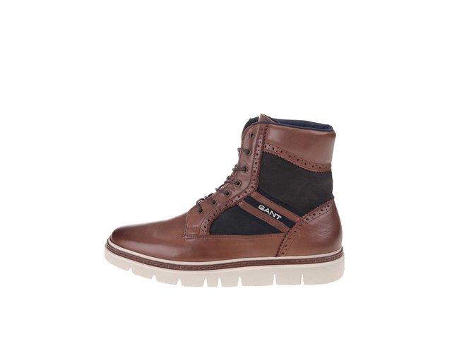 Hnedé pánske kožené členkové topánky GANT Scott   e7ea7011257