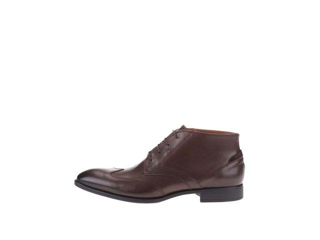 Tmavohnedé kožené pánske členkové topánky Tommy Hilfiger Tommy Ruper   9ea8bd7e599