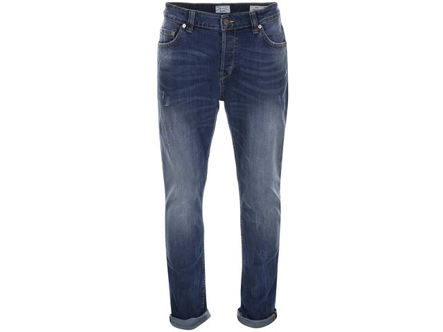 Modré slim džíny s ošoupaným efektem ONLY & SONS Loom