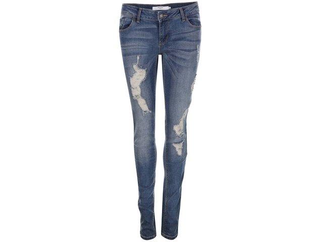Modré super slim džíny s roztrhaným efektem Vero Moda Five