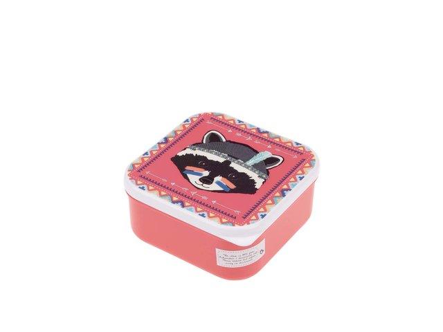 Růžový box na jídlo s mývalem Sass & Belle Raccoon