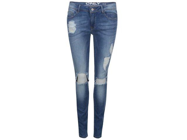 Modré skinny džíny s potrhaným efektem ONLY Coral Low
