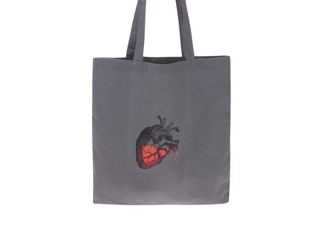Šedá plátěná taška přes rameno ZOOT Originál Srdce