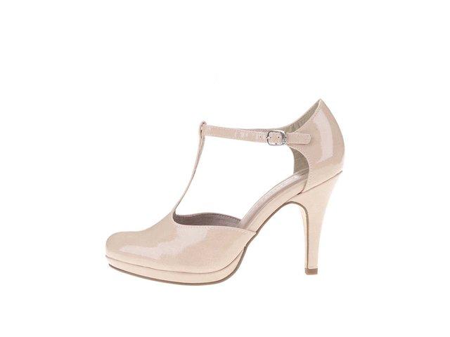 Tělové lesklé boty na podpatku Tamaris