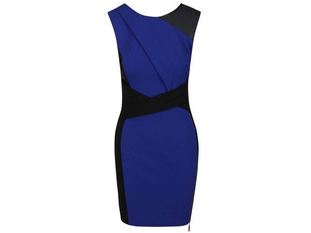 Černo-modré šaty s ozdobným zipem Lipsy