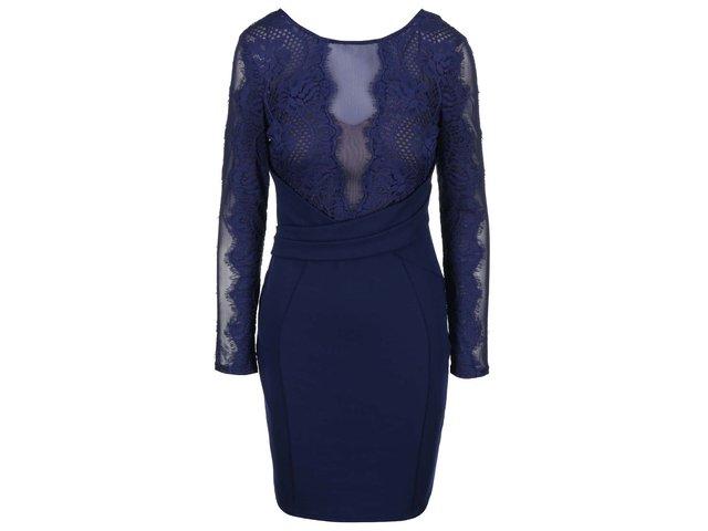 Tmavě modré šaty s krajkovým topem Lipsy