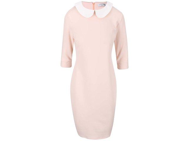 Pudrově růžové šaty s bílým límečkem Goddiva