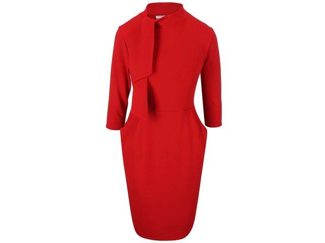Červené šaty s vázankou a kapsami Goddiva