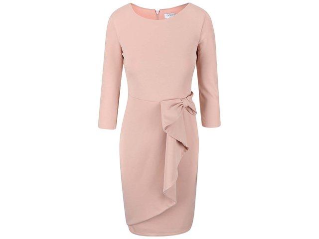 Pudrově růžové šaty s ozdobnou mašlí Goddiva