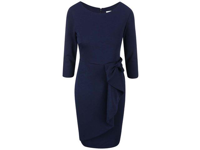 Tmavě modré šaty s ozdobnou mašlí Goddiva