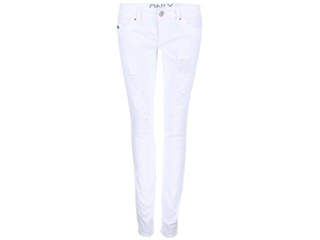 Bílé džíny s otrhaným efektem ONLY Coral