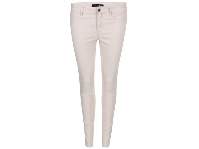 Krémové kratší slim džíny s děrovanými koleny VILA Commit