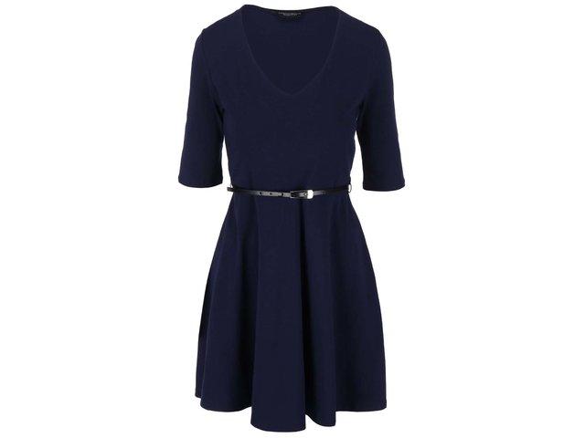 Tmavě modré šaty s 3/4 rukávem a s páskem Dorothy Perkins