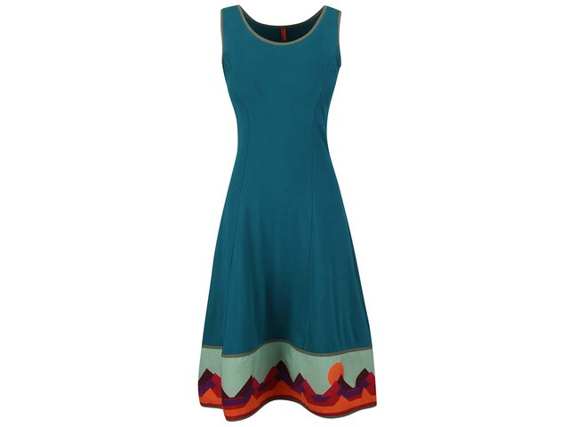 Modré šaty s barevným lemem Tranquillo Oasis