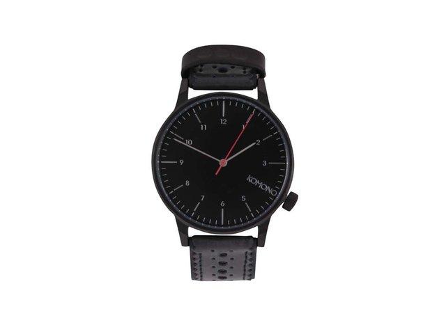 Černé pánské hodinky s brogue koženým páskem Komono Winston Brogue