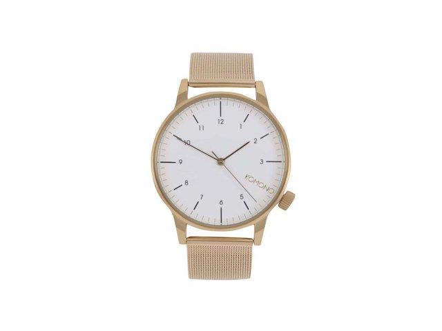 Unisex hodinky ve zlaté barvě s bílým ciferníkem Komono Winston Royale