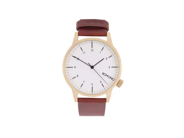 Hnědé unisex kožené hodinky s bílým ciferníkem Komono Winston Regal
