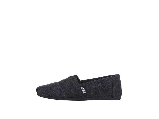 Tmavě šedé plátěné loafers Toms