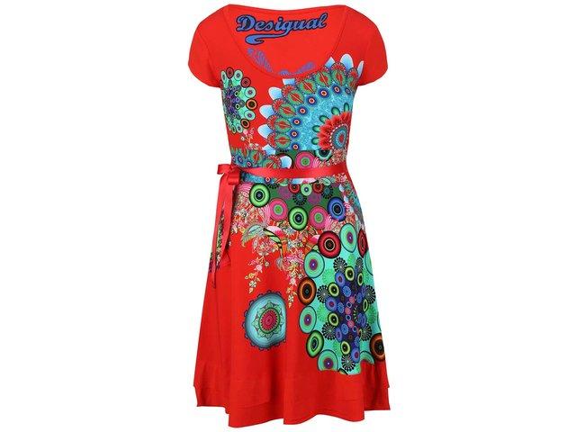 Červené šaty se stuhou v pase Desigual Regina Guer