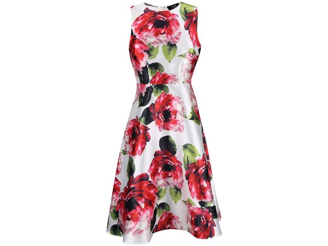 Bílé šaty s růžovými květy AX Paris