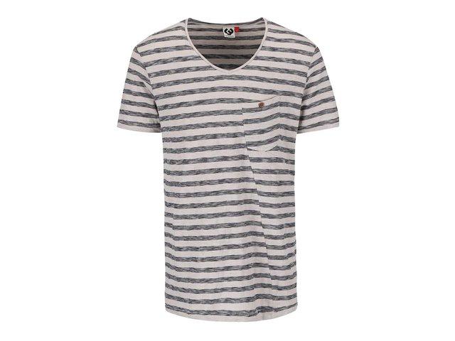 Béžové pánské pruhované triko s náprsní kapsou Ragwear Sid