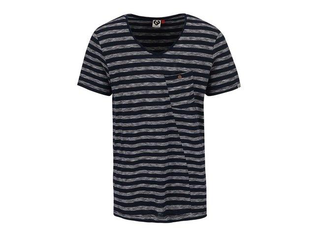 Tmavě modré pánské pruhovné triko s náprsní kapsou Ragwear Sid