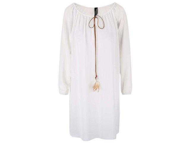 Bílé šaty s peříčkovým vázáním Madonna