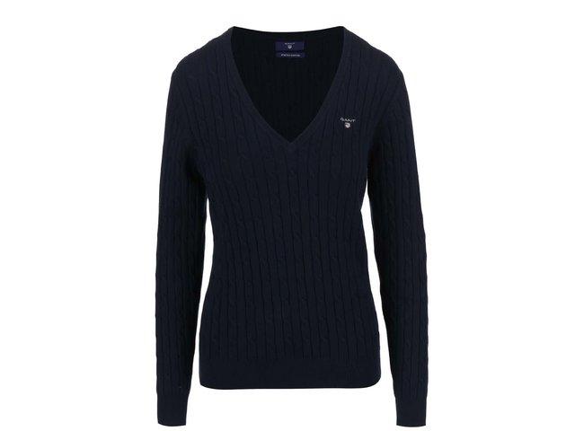 1014ba878e3f Modrý dámsky sveter s výstrihom do V GANT