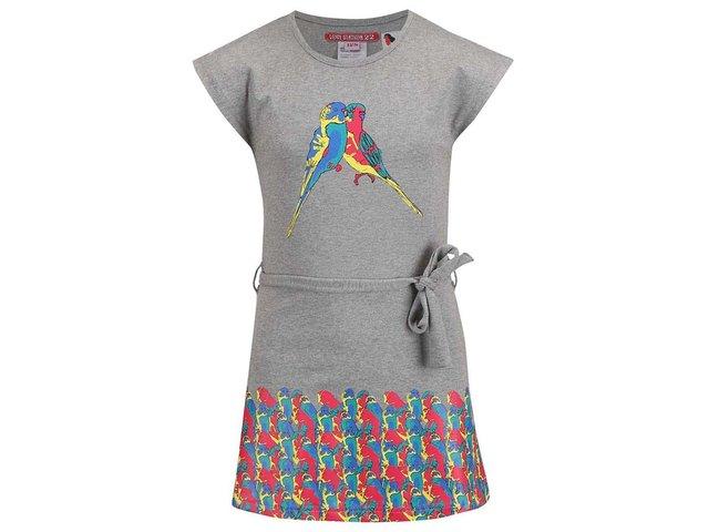 Šedé dětské šaty s papoušky LoveStation22 Ceylin