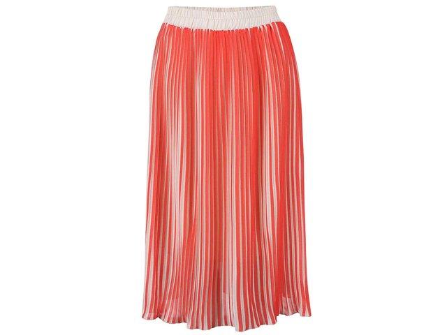 Krémovo-korálová plisovaná sukně Alchymi