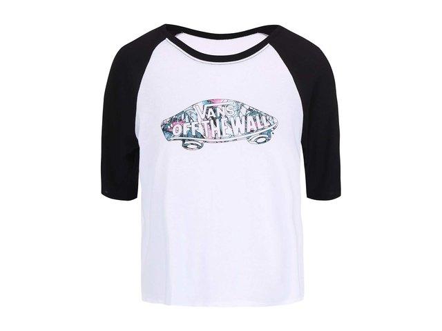 Čiernobiele dámske tričko s 3 4 rukávom Vans Tropic Skate   3b22414c633