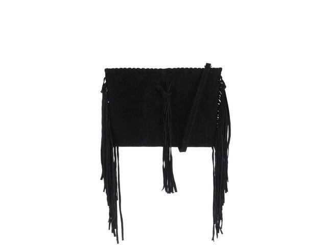 1a39516cb5 Čierna semišová crossbody kabelka so strapcami Miss Selfridge