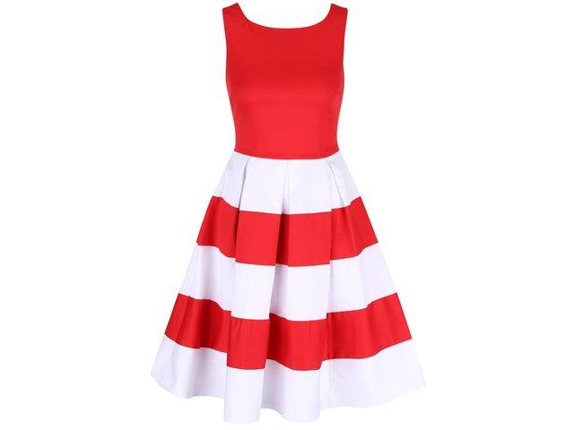 23536e9ad430 Červeno-biele šaty s pruhovanou sukňou Dolly   Dotty Anna
