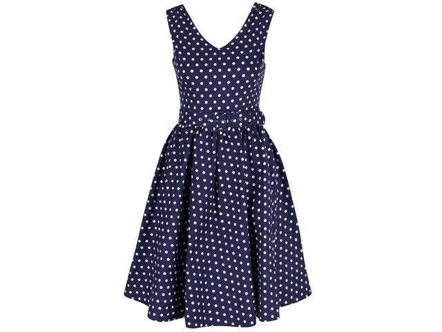 a44c92c0a14b Tmavomodré bodkované šaty s opaskom Dolly   Dotty Wendy