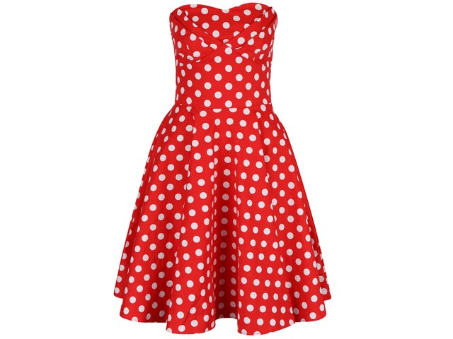 0d260e7a24e8 Červené bodkované šaty bez ramienok Dolly   Dotty Melissa
