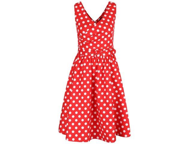 ce8ed95ed702 Červené bodkované šaty s véčkovým výstrihom Dolly   Dotty May
