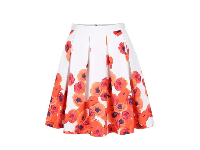 ddbfe03311be Biela sukňa s červenými kvetmi Closet
