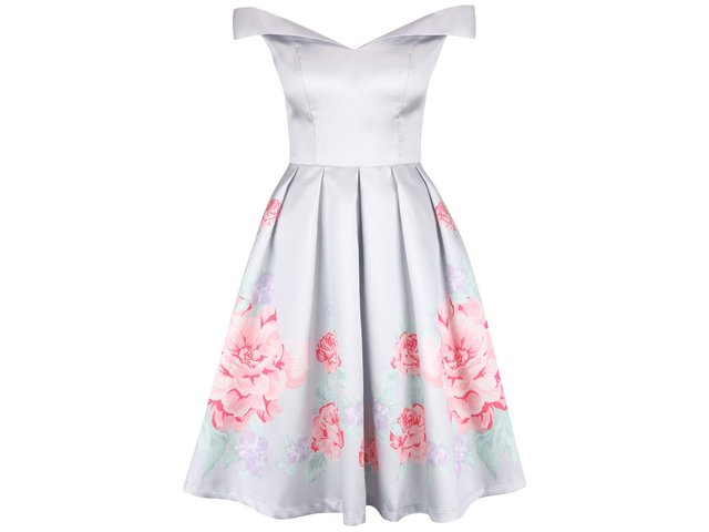 bcc2ea150a8f Svetlosivé kvetinové šaty so spadnutými ramenami Chi Chi London Camilla