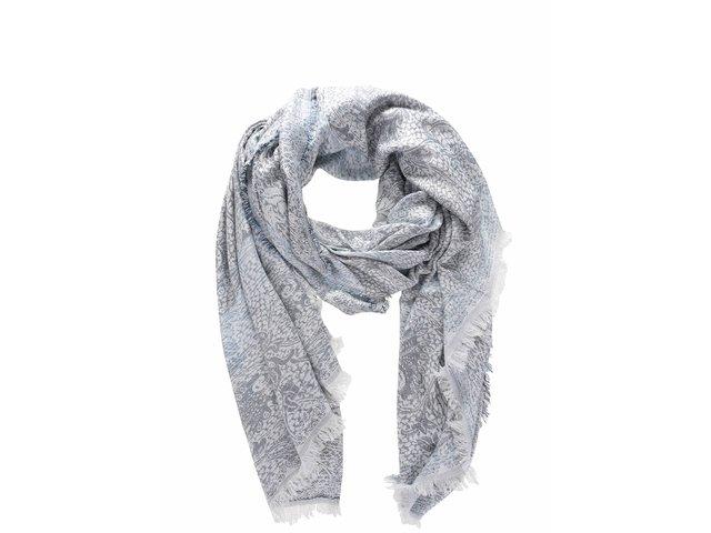 Krémovo-modrá vzorovaná šatka Vero Moda Jia   fbf91841983