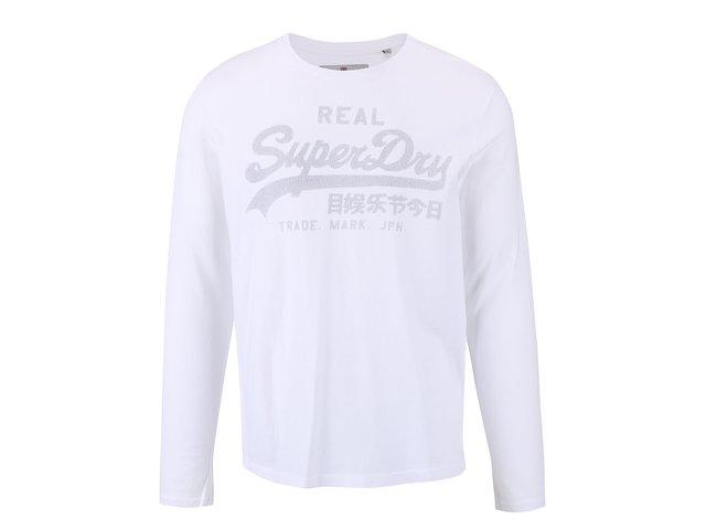 2ddc41b09da4 Biele pánske tričko s potlačou a dlhým rukávom Superdry