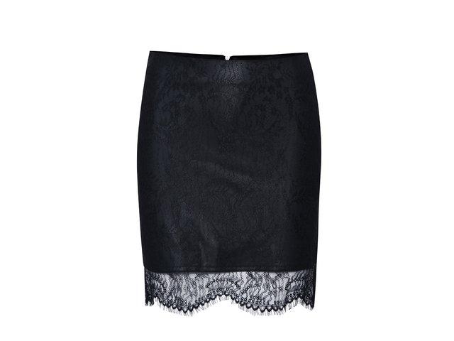 dd5433e7f2a4 Čierna koženková sukňa s čipkou ONLY Sara