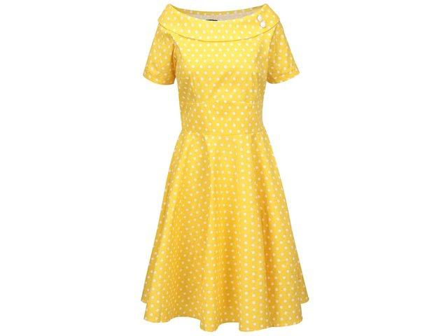 6651e8acf009 Žlté bodkované šaty s lodičkovým výstrihom Dolly   Dotty Darlene