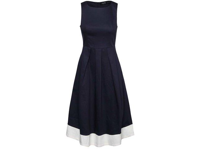 0bbe91ecca74 Tmavomodré šaty s krémovým lemom Dolly   Dotty Daphne
