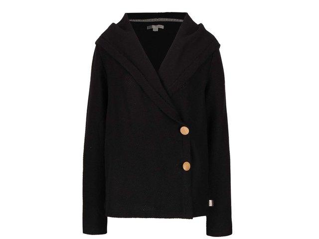 Čierny kardigan s kapucňou a drevenými gombíkmi Roxy Knot A Care e8e9968a1ac